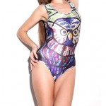 Elonbo Women's Round Collar Color the Owl Style Digital Painting Sexy Swimsuit Nz One-Piece Swimwear Nz