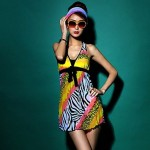 Women's Leopard Print Zebra Print Bow Slim Skinny Swimsuit Nz