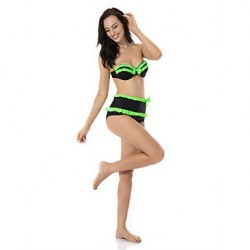 RELLECIGA Sexy Retro Style Black High Waist Bikini Swimwear Nz with Neon Green Ruffles and Bows