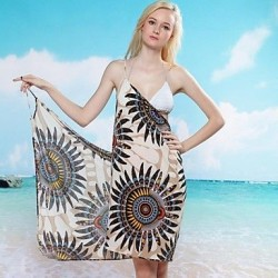 Women's Sexy Sunflower Print Halter Warp Beach Cover-Up Dress