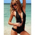 Anny Women's Wireless Solid Halter One-pieces (Polyester)
