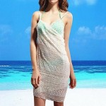 Women's Fashion Sexy Lace Knitting Deep V Bare Back Gallus Bikini Swimwer Beach Dress Cover Up