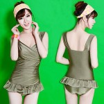 Women's Spa Beach Small Steel Plate Gather Tripe-Thin One-Piece Dress Swimsuit Nz