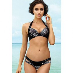 Women's Cheetah Rivet Halter Push up Bikini