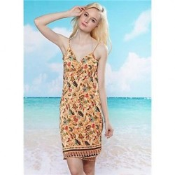 Women's Stylish Sexy Colorful Printing Deep V Bare Back Gallus Beach Dress