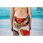 Women's Fashion Sexy Red Chain Print Deep-v Swimwear Nz Swimsuit Nz Beachdress Bikini Cover-up