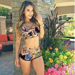 Women's Wireless Floral Halter Tankinis (Polyester)