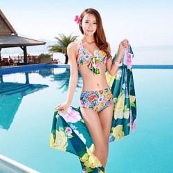 Women's Large Yard Printing Bikini Three Sets of Swimsuit Nz