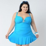 2015 Big Women Summer Dress One Piece Swim Suit Fat Lady Skirted Bathing Suit Large Size Big Swimwear Nz Plus Size XXL-6XL