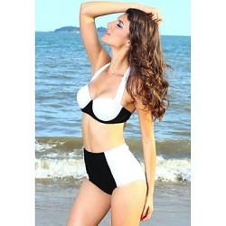 Women's Push-up High Rise/Color Block Halter Bikinis Black White Vintage Style Swimwear Nz(Polyester/Spandex)