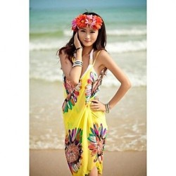 Women's Fashion Sexy Sunflower Chiffon Deep-v Swimwear Nz Swimsuit Nz Beachdress Bikini Cover-up