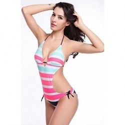 Nzswimwear Hot Wholesale Striped Removable Push Up Padding 2014 Strappy Female One Piece Swimsuit Nz S.M.L.XL