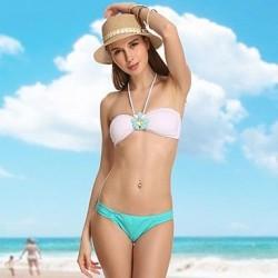VBM Brand Women's White Diamond Crystal Retro Bandeau Bikini Beachwear Sexy Swimwear Nz Biquinis