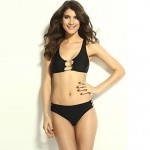 Women's Black Golden Chain Detailed Bikini Swimsuit Nz