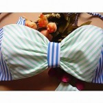 Women's Sexy Fashion Blue-Green Stripes Solid Halter-Tops Push Up Bikini