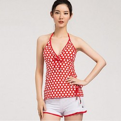 Sanqi Women's Sweet Nautical Stripe Three Pieces Push-up Deep V Bikini Swimming Suit