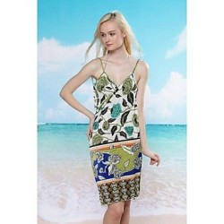 Women's Fashion Sexy Multi Print Backless Deep-v Swimwear Nz Swimsuit Nz Beach dress Bikini Cover-up