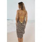 Women's Fashion Sexy Zebra Print Deep-v Swimwear Nz Swimsuit Nz Beachdress Bikini Cover-up