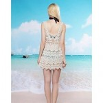 Women's Fashion Sexy Beige Hollow Crochet Swimwear Nz Swimsuit Nz Beachdress Bikini Cover-up