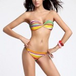 Women's Fashion Sexy Chain Multi Stripe Beach wear Bikini Set Swimwear Nz Swimsuit Nz Biquini Bathing Suit