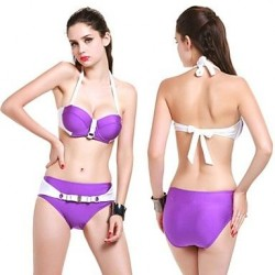 Women's New Design Fashion Sexy Shiny Fabrics Two Piece Bikini Bandeau Charm
