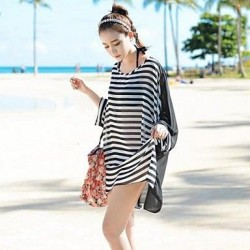 Women's Sexy Fashion Black-White Stripe Cover-ups