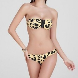 Women Nylon Wireless Bandeau Leopard Bikinis