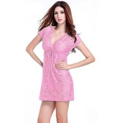 Women's Lace/Polyester Sexy Lace-up Cut Out Cover-Ups