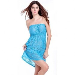 Women's Lace/Polyester Sexy Solid Color Cut Out Bandeau Cover-Ups