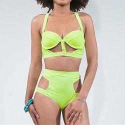 Women's Sexy Fashion Hollow Green High Waist Underwire Bra Push Up Bikini
