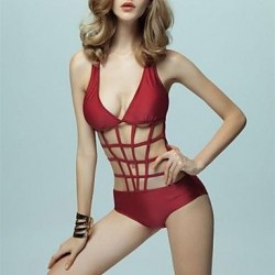 Women's Sexy Fashion Burgundy Hollow Mesh Push Up One-piece Swimsuit Nz