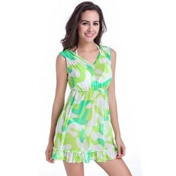 Women's Newy Style Polyester Dress V Neck Princess Multi-green Swimdress no Bra