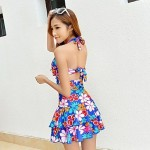 Women's Floral Fashion Ruched One Piece Swimdress Swimsuit Nz
