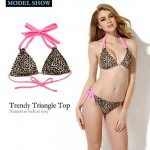 Nzswimwear 2019 New Sexy Leopard + Pink Double Strap Triangle Top with Classic Cut Bottom Bikini Swimwear Nz Set(Size:S/M/L)