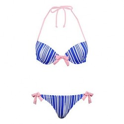 Winmax® Women Blue Striped Nylon & Spandex Bikini Swimwear Nz