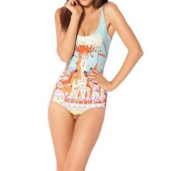 Women Nylon/Polyester Wireless Halter One-pieces
