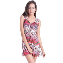 PinkQueen® Women's Nylon/Polyester Sexy Multicolor Print Cover-Ups