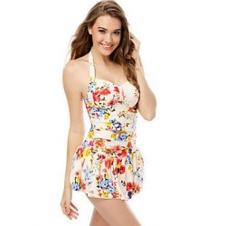 Women's Wireless Floral Halter One-pieces (Polyester)
