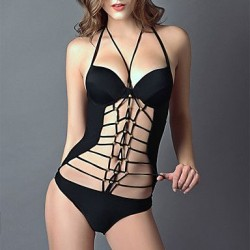 Women's Beads Lacing One-Piece Swimwear Nz
