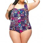 Women's Fashion Multicolor Check Sexy High Waist Bikinis Plus Size