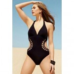 Elegant Hollow Out Backless Sexy Vintage Swimsuit Nz Women's Push-up Solid/Bandage/Geometric Halter One-pieces
