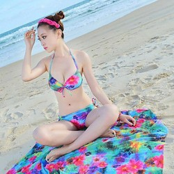 Women Sexy Floral Nylon/Others Padded Bras/Underwire Bra Halter Multi-pieces
