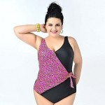 2015 Newest Lady Sexy One piece swimsuit Big Women Plus size Swimwear Nz Leopard Triangle swimwears Beach Bathing suit