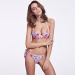 Double Free Vertical V Clasp/Wireless Padded Bras / Watercolor/ Fluorescent Pink Ruffle Bandeau Bikinis
