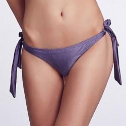 Nzswimwear Women's Adjustable Stripped /Grape Purple Bikini Panties