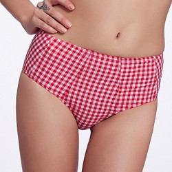 Nzswimwear Women's Retro Folded /Mid Rise/Red and White Lattice Bikini Panties