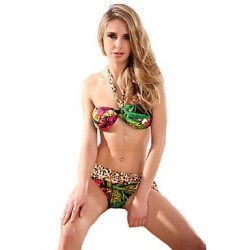 Women's Sexy Brazilian Bikini Leopard Swimwear Nz Swimsuit Nzs Bandeau Halter Bathing Suits National Folk Ethnic Bohemia
