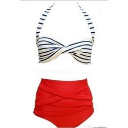 Anny Women's Push-up/Wireless High Rise/Color Block Bandeau Bikinis (Polyester)