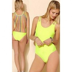 Women's Padless Bra Style Solid Strappy Halter One-pieces Swimwear Nz (Spandex)