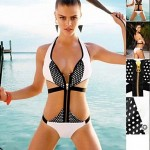 Women's Polyester Polka Dot Patchwork One-Piece Sexy Swimwear Nz with Zip
